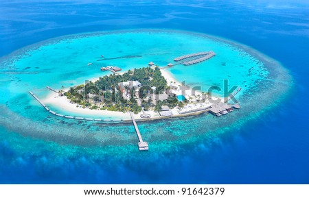 Maldives atoll island - stock photo