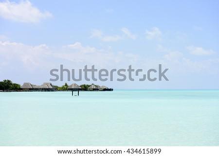 maldives beach - stock photo