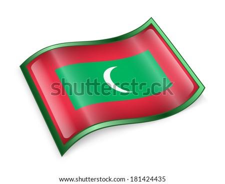 Maldives Flag icon, isolated on white background. - stock photo