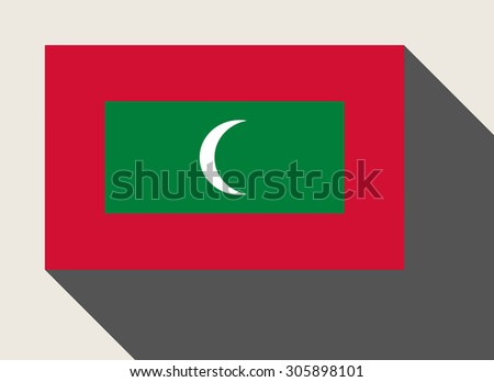 Maldives flag in flat web design style. - stock photo