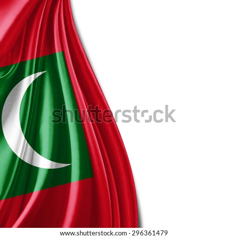 Maldives  flag  of silk with copyspace for your text or images and white background