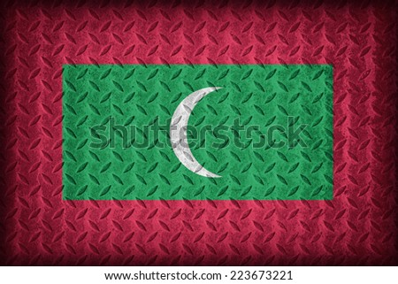 Maldives flag pattern on the diamond metal plate texture ,vintage style - stock photo