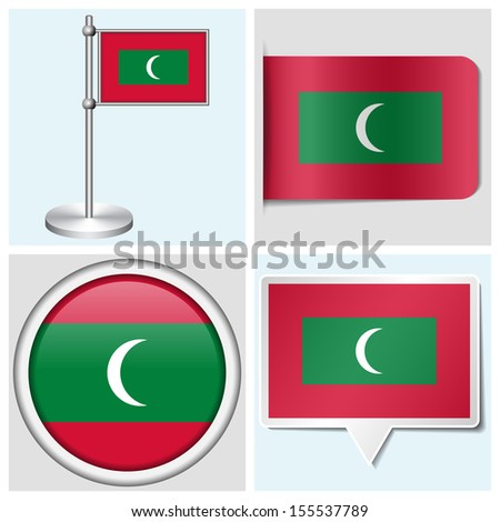 Maldives flag set of various sticker button label and flagstaff