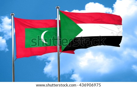Maldives flag with Sudan flag, 3D rendering