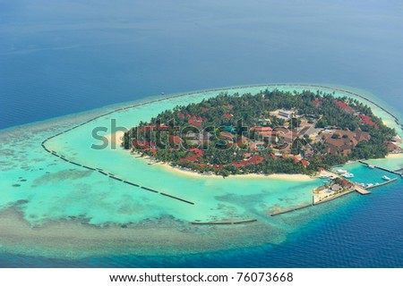 Maldives island from sky view - stock photo