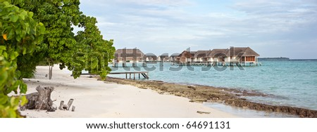 maldives panorama seascape on Landaa Giraavaru island - stock photo