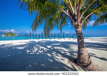Maldives resort bridge. Tropical island with sandy beach, palm trees and tourquise clear water - stock photo