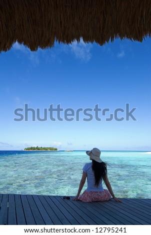 maldives seascape. banyan tree resorts. - stock photo