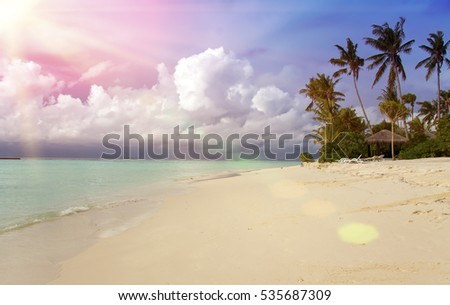 Maldives. Sunshine through clouds light the beach with palm trees