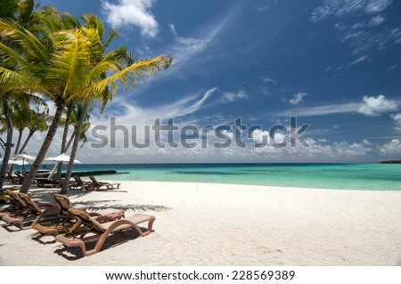 Maldives tropical beach and Sun loungers - stock photo