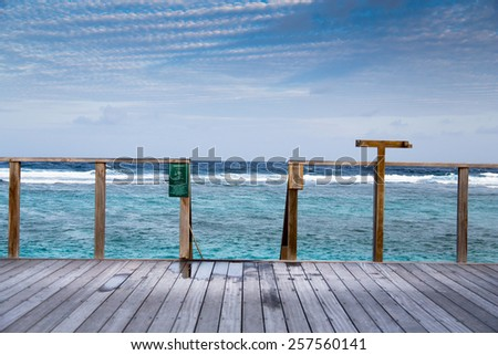 Maldives View from runway the indian ocean bay - stock photo