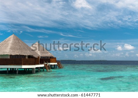Maldives water bungalows - stock photo
