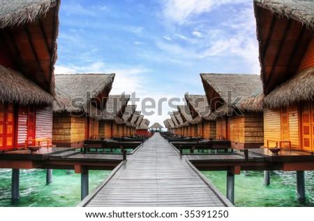 Maldivian architecture - stock photo