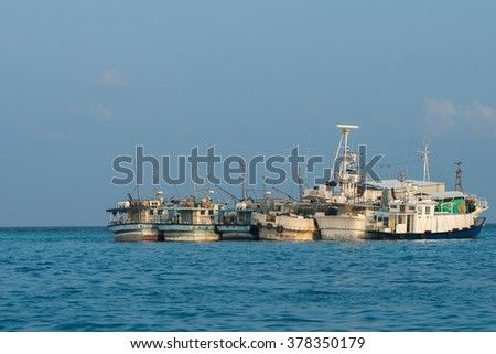 maldivian fishing boat in male maldives harbor