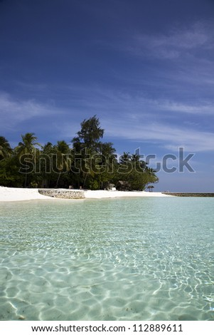 Maldivian vacation island - stock photo