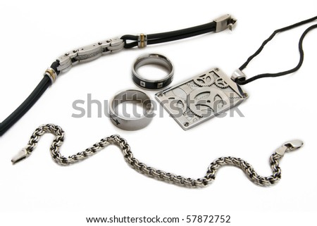male accessories isolated on the white - stock photo