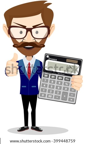 Male Accountant with a calculator. Stock illustration - stock photo