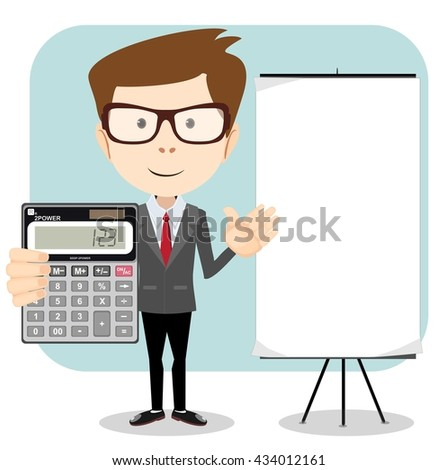 Male Accountant with a calculator. Stock illustration. - stock photo