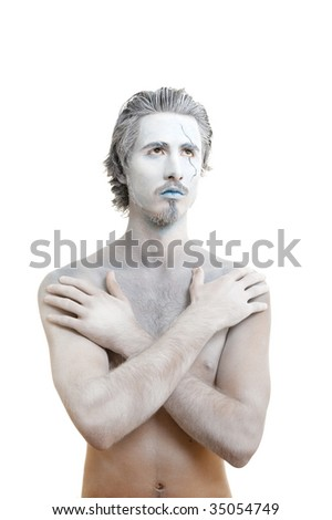 Male actor playing role of  water spirit - stock photo