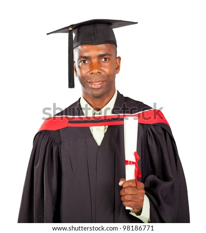 male african american graduate in gown and cap over white background