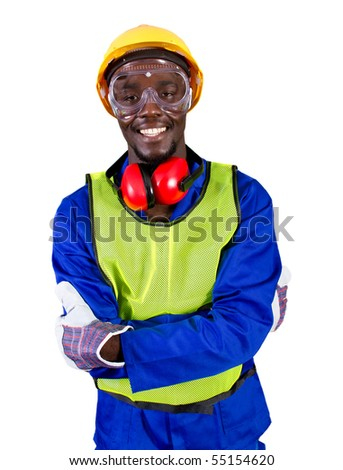 male african builder with full protective gear - stock photo