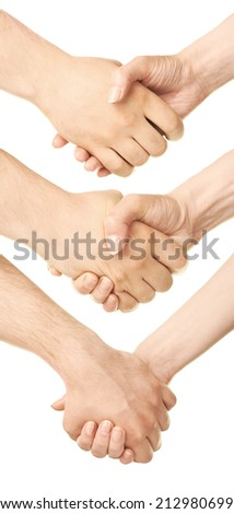 Male and female caucasian hands holding each other isolated over the white background, set of three images - stock photo
