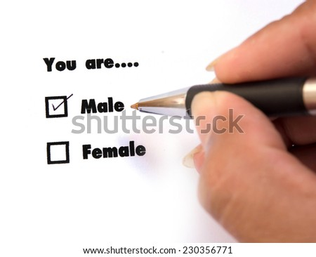 Male and female check boxes ink print, check Male - stock photo