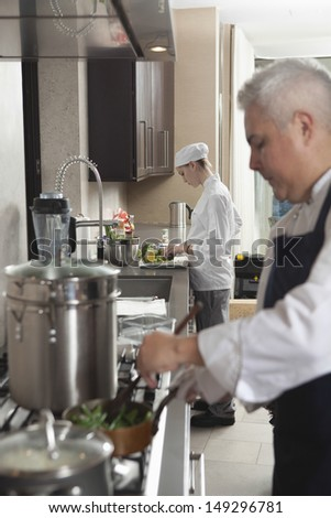 Male and female chefs working in commercial kitchen - stock photo