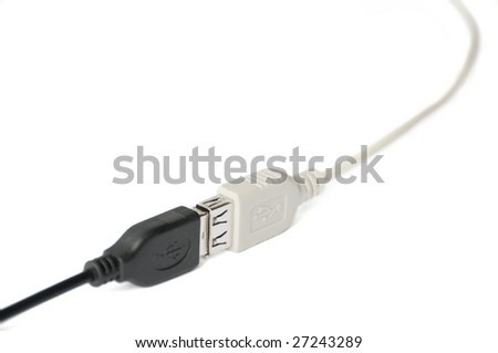 Male and female connected usb cables - stock photo