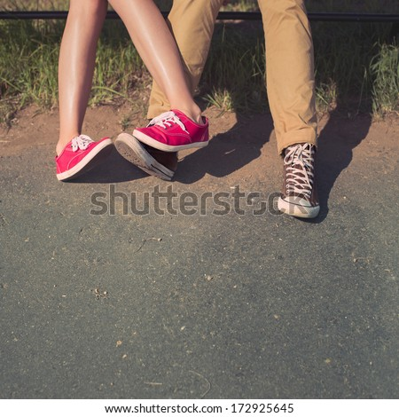 male and female couples in love feet - stock photo