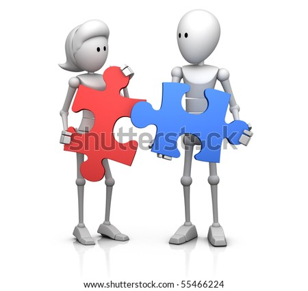 male and female 3d character holding two matching jigsaw pieces in their hands - 3d illustration/render