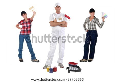 Male and female decorators - stock photo