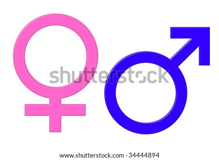 Male and female gender symbols isolated on white background.