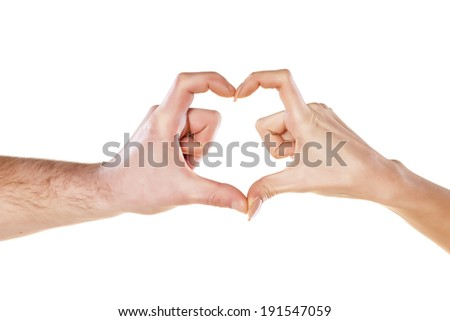 male and female hand in the form of heart