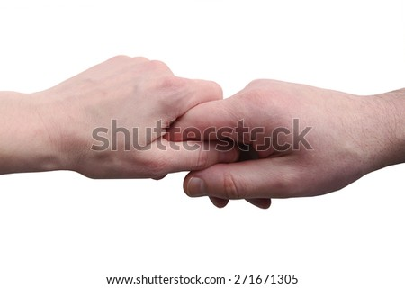 Male and female hands are together isolated on a white background.