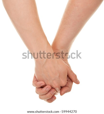 male and female hands (palms) in different gestures - stock photo