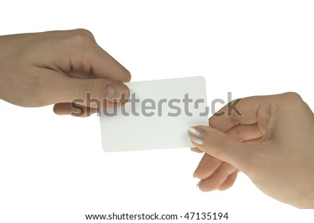 male and female hands with blank business card on white background