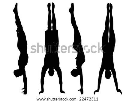 male and female handstand - stock photo