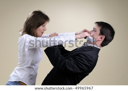 male and female in conflict - stock photo