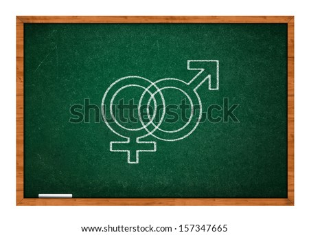 Male and female sex symbol on green chalkboard with wooden frame.