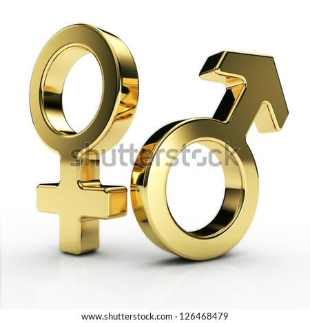 male and female sex symbols, golden, isolated over white background - stock photo