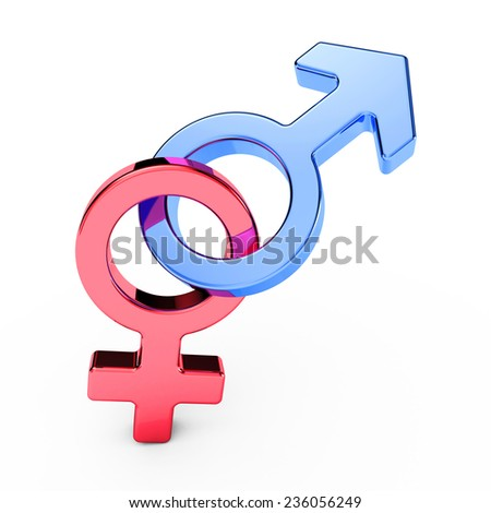 male and female sex symbols, isolated over white background