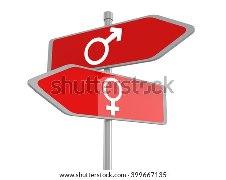 Male and female signs on road sign, vector - stock photo