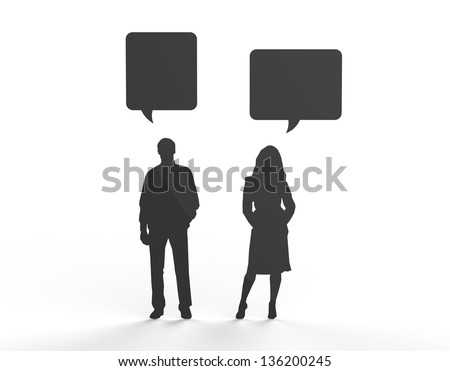 Male and female silhouette figure communicating in speech bubbles. Can be used to insert your own text.
