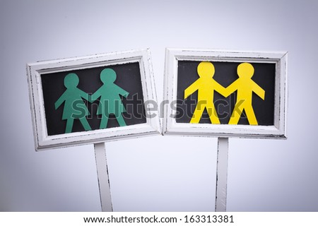 Male and female symbols and homosexual concept - stock photo