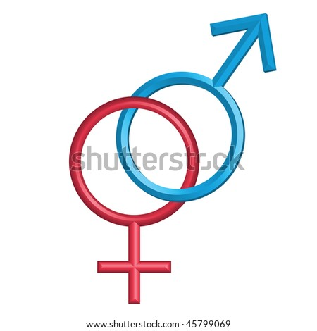 Male and female symbols, isolated on white, vector version is also available - stock photo