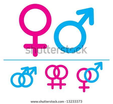 Male and  female symbols. Raster illustrations. Combinations. - stock photo