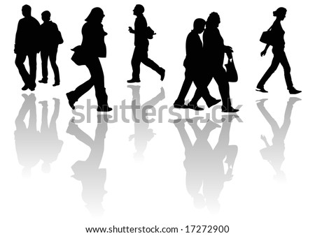 male and female walkers - stock photo