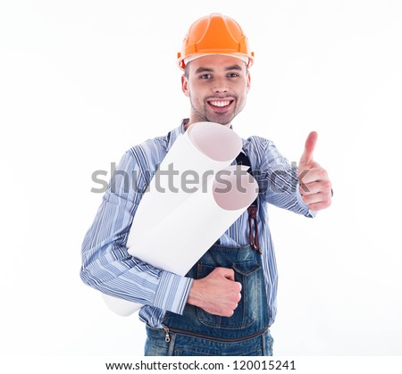 Male architect with blueprints against white background - stock photo