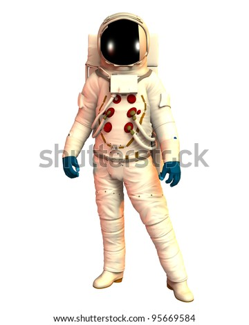 Male Astronaut wearing a spacesuit, helmet,gloves ,boots warm light of the sun. isolated on white background, Clip art cut out illustration - stock photo